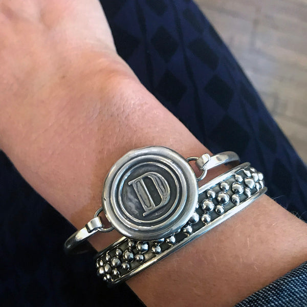 Sterling Silver Wax Seal Stamp Cuff Bracelet