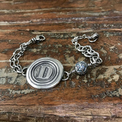Sterling Silver Wax Seal Stamp Chain Bracelet