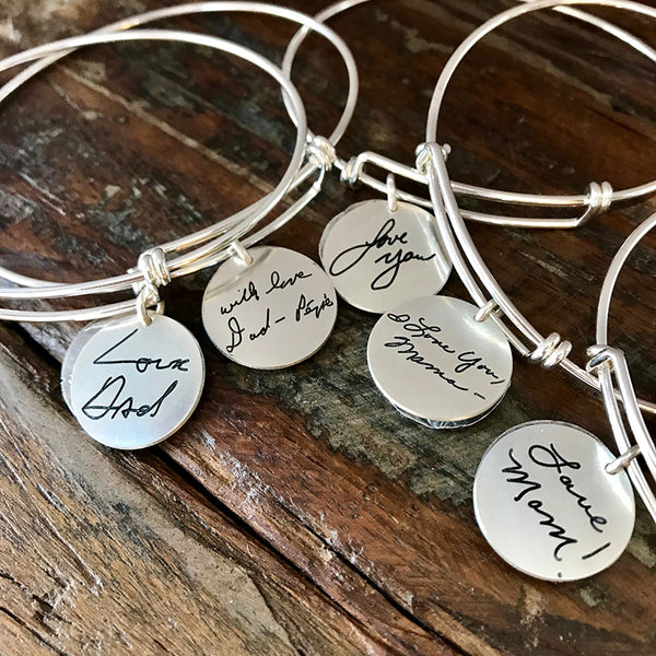 Sterling Handwritten Expandable Bracelet with Charm