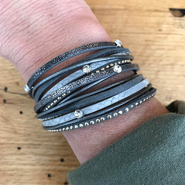Ava Leather Wrapped Bracelet - Gray Black - Quick Ship