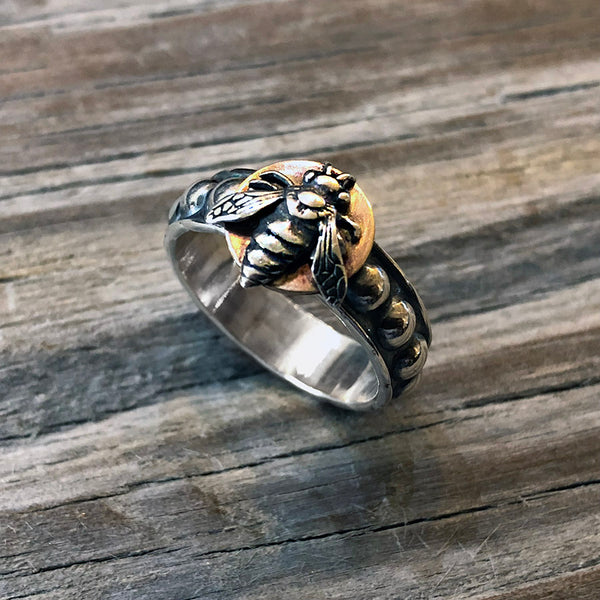 Silver and Gold Bee Ring