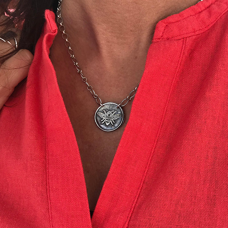 Bee Wax Seal Necklace - Sterling Silver