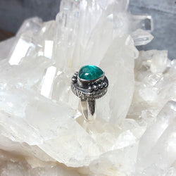 Blue Green Apatite Fractured Ring - Sterling Silver