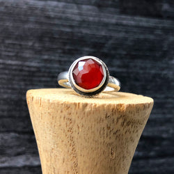 Faceted Carnelian Sterling Silver Ring