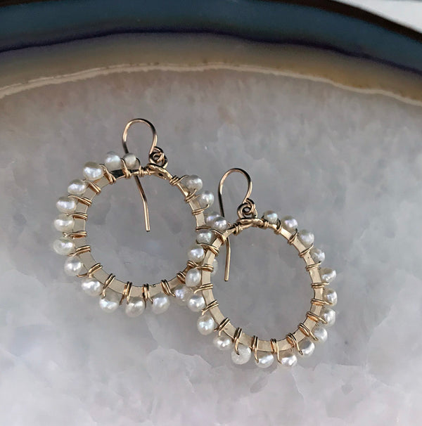 Pearl Hoop Earrings - Quick Ship