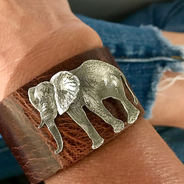 Silver and Leather Elephant Cuff