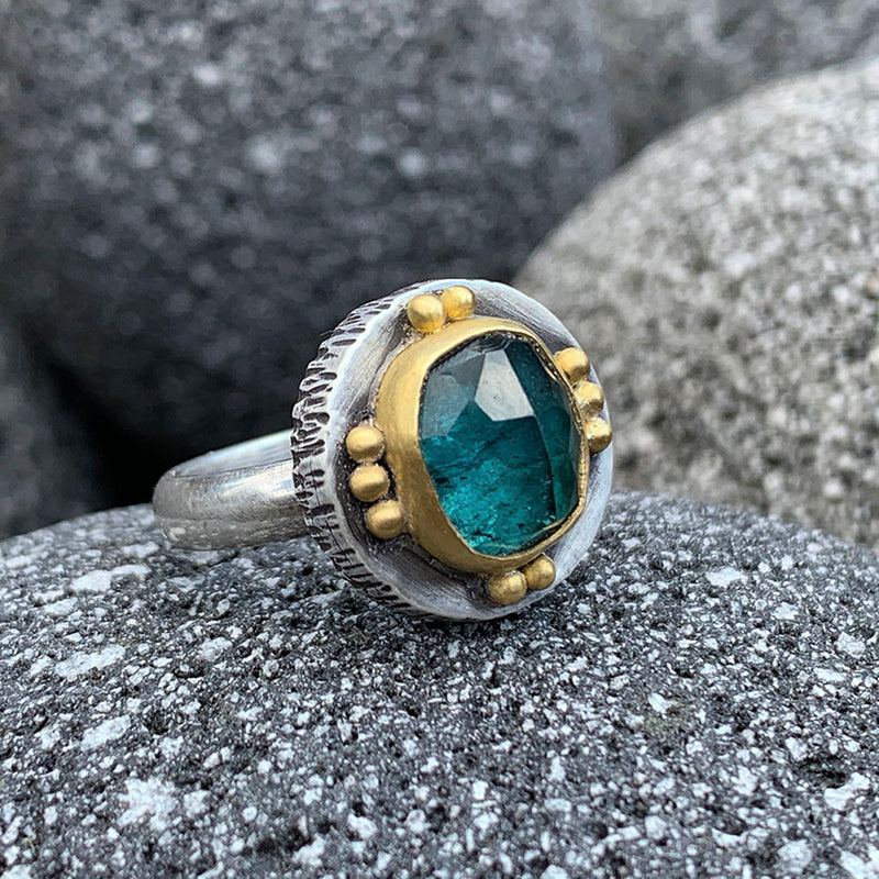 Blue Green Tourmaline Fractured Ring - Sterling and 22k