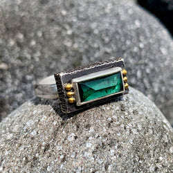 Rectangle Blue Green Tourmaline Fractured Ring - Sterling and 22k