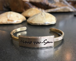 Gold Handwritten Messages Thin Cuff