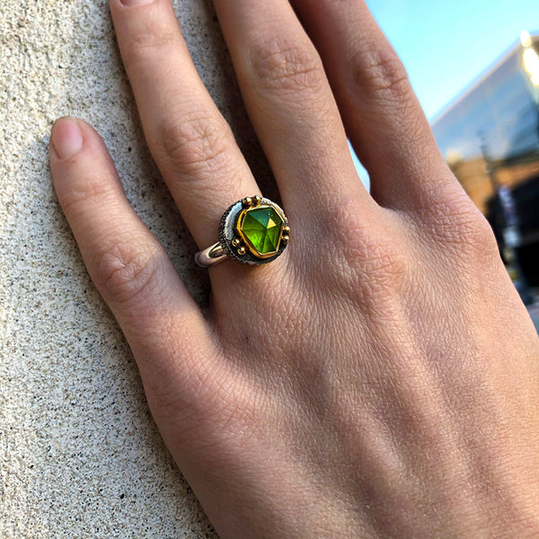 Green Peridot Fractured Ring - Sterling and 22k