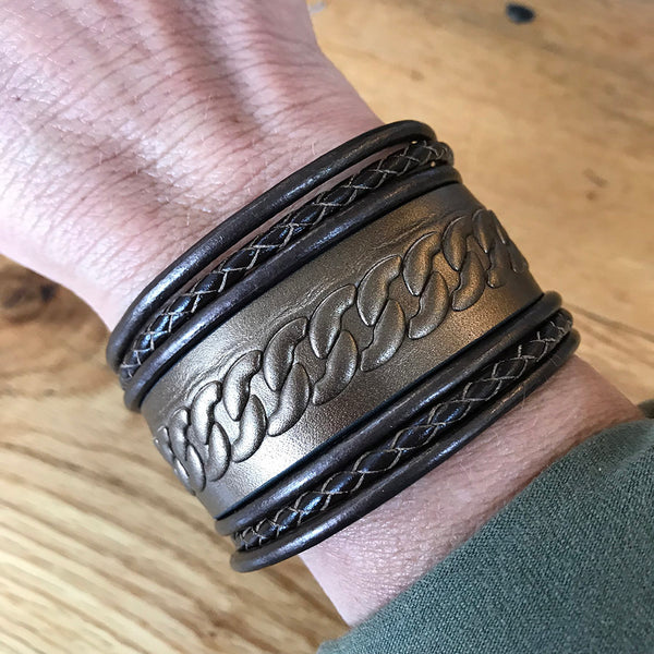 Hadley Leather Wrapped Cuff - Bronze - Quick Ship
