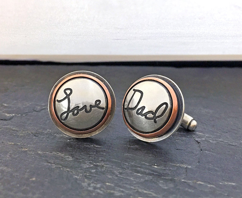 Sterling Silver Handwritten Cufflinks