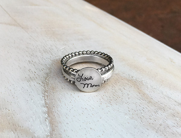 Sterling Handwritten Sentiments Ring