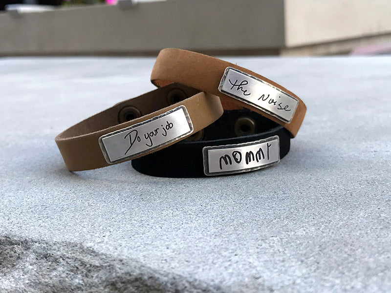 Leather Handwritten Messages Thin Cuff