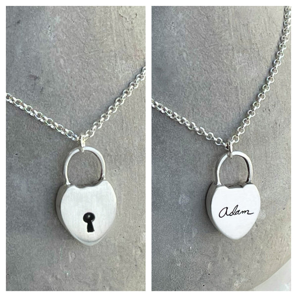 Tiny Handwritten Sterling Silver Heart Lock Necklace