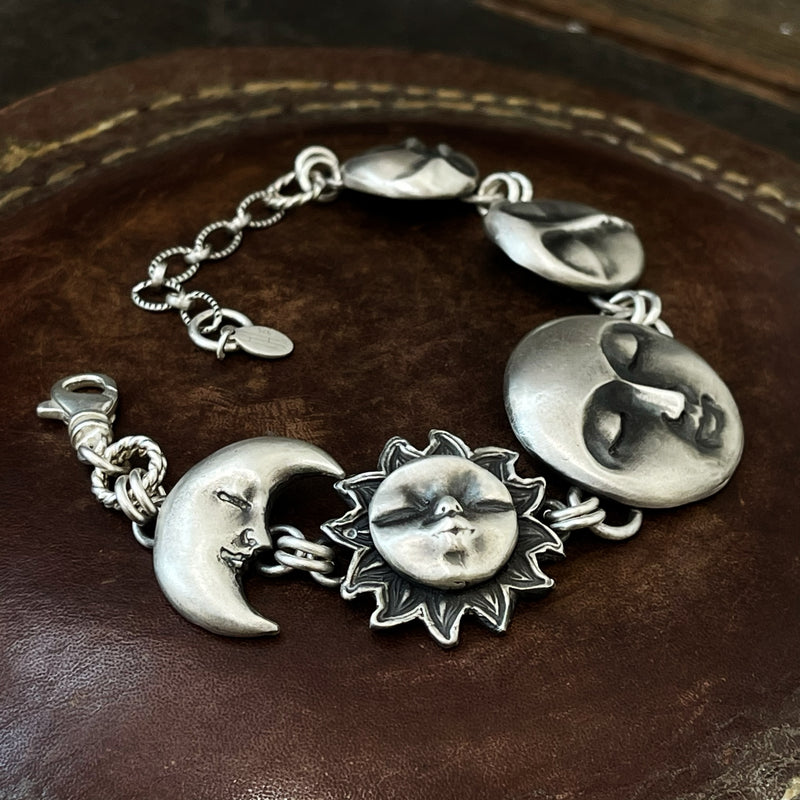 There Is No Greater Power Than a Moon, a Sun and a Woman Who Knows Her Worth - Sterling Silver Bracelet