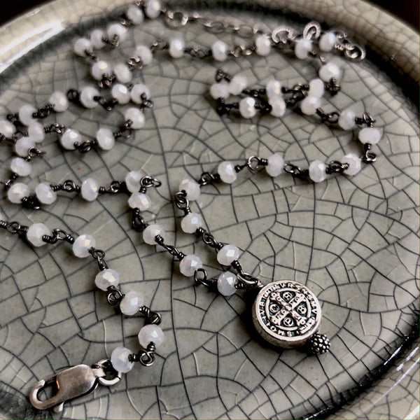 Saint Benedict Moonstone Necklace
