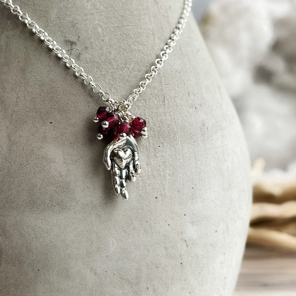 Heart In Hands - Garnet & Sterling Silver Necklace