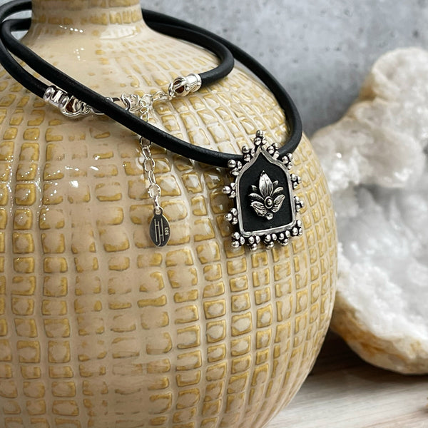 Lotus Rebirth Leather Necklace