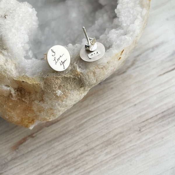 Sterling Silver Handwritten Stud Earrings