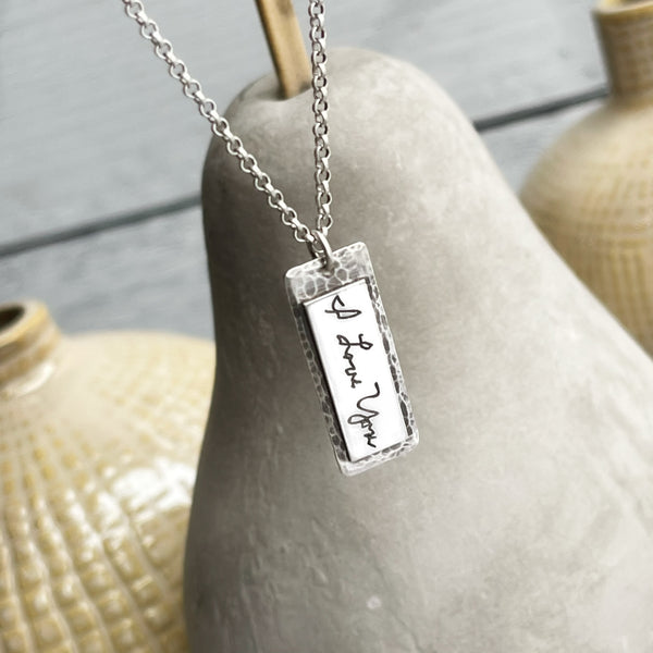 Sterling Handwritten Tag Necklace