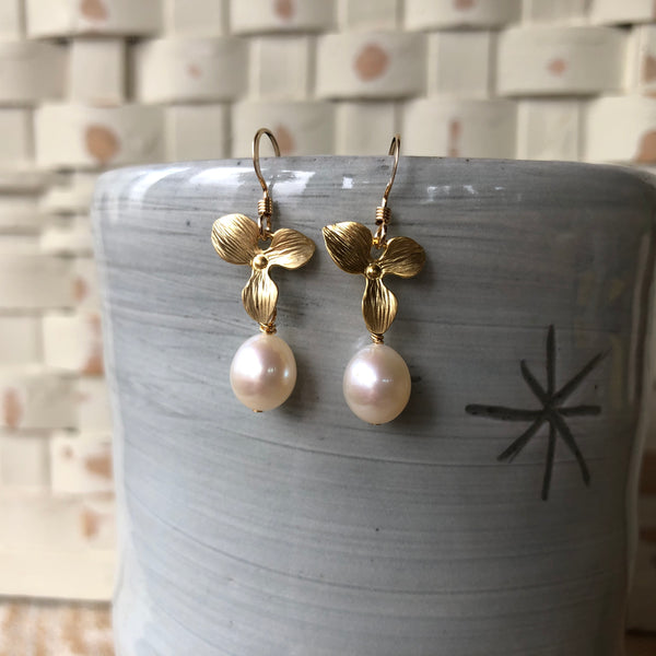 14k Gold Filled and Freshwater Pearl Orchid Earrings - Quick Ship