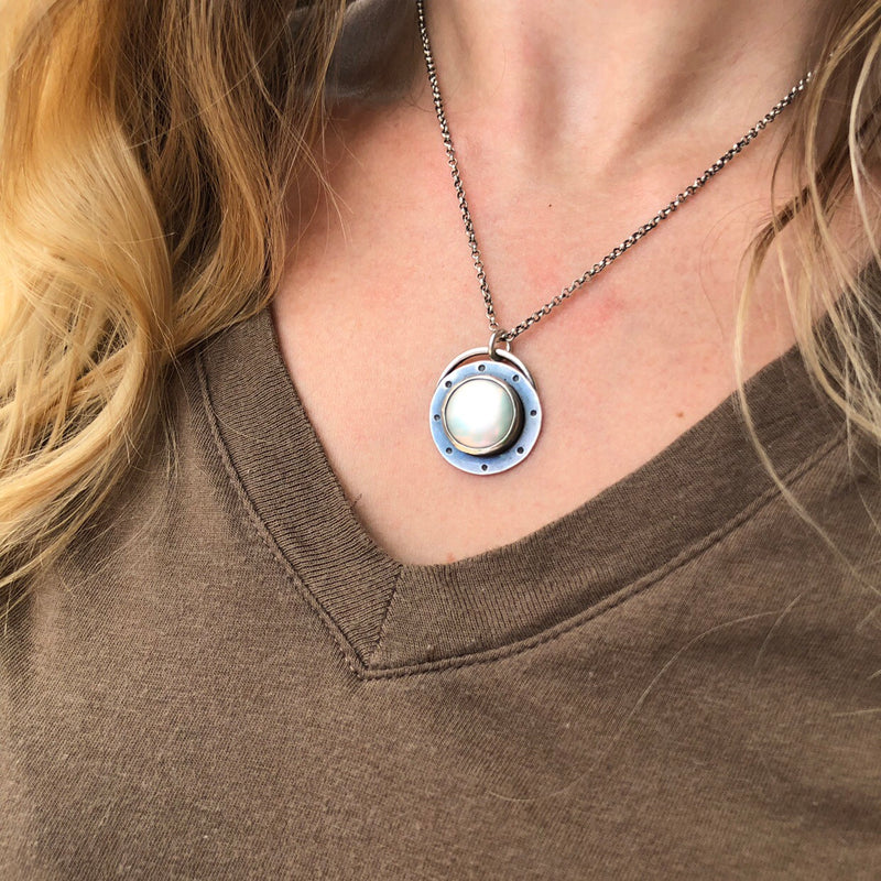 Sterling Silver Pearl Coin Necklace