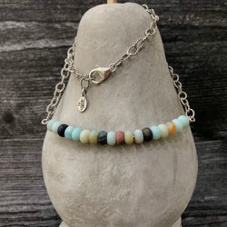 Matte Amazonite & Sterling Silver Necklace