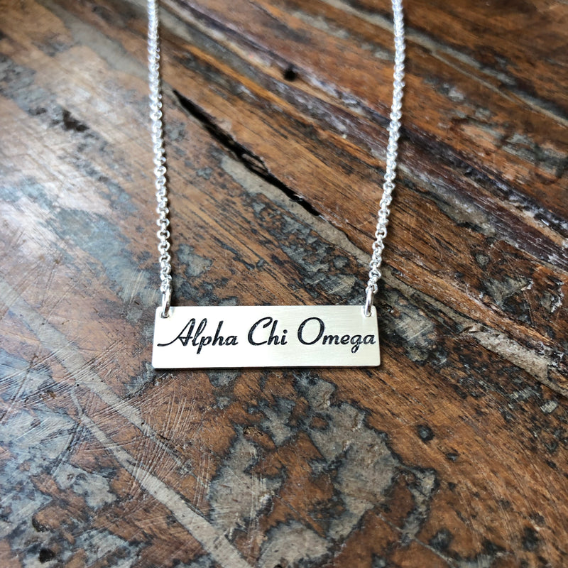 Sterling Silver Sorority Bar Necklace
