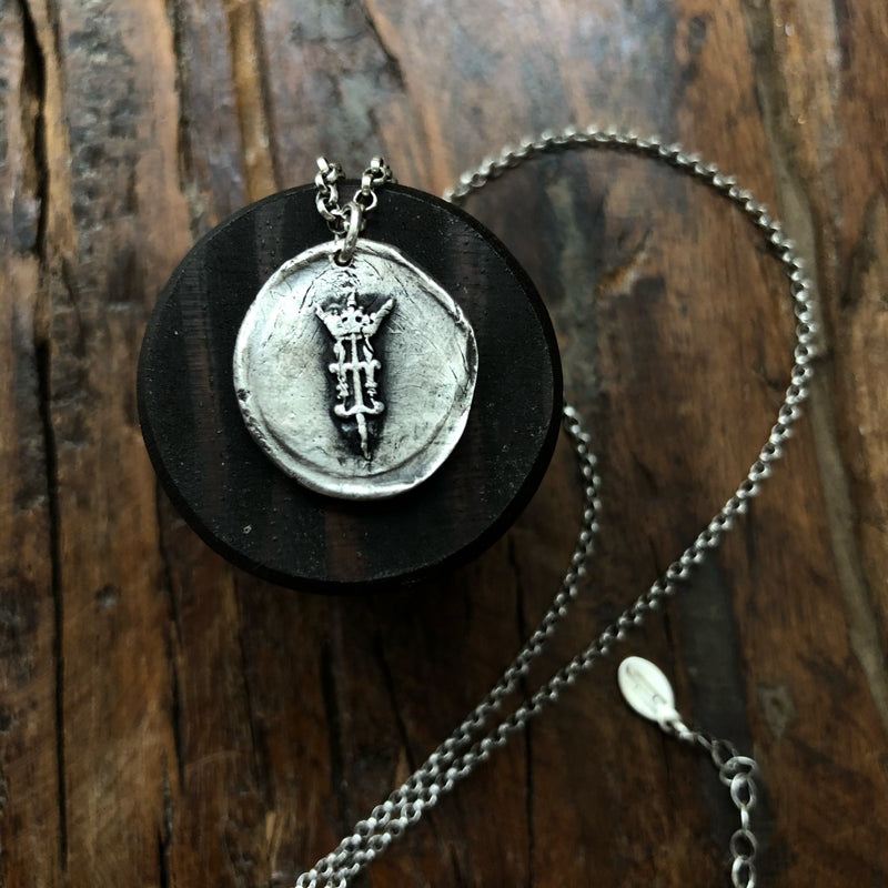 Joan of Arc Sterling Silver Necklace - Double Sided