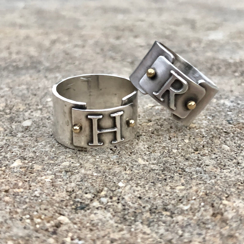 Initial Band Ring - Sterling Silver