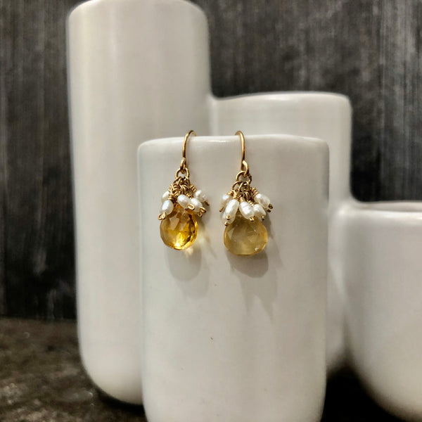 Citrine & Freshwater Pearl Earrings - Quick Ship