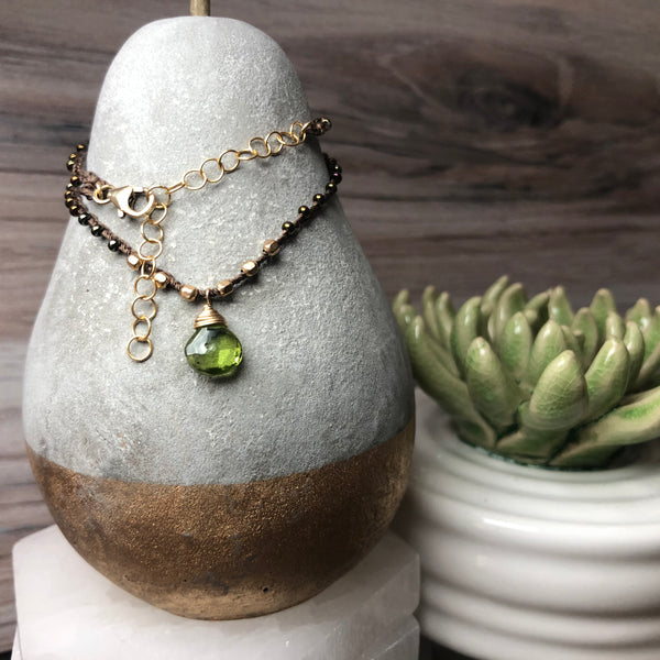 Hand Woven Linen Faceted Peridot Gemstone Necklace - Quick Ship