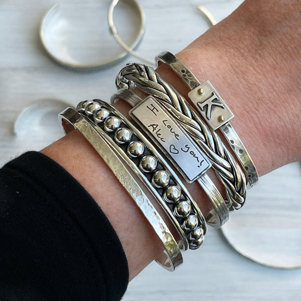 Sterling Silver Gallery Pattern Cuff - Quick Ship