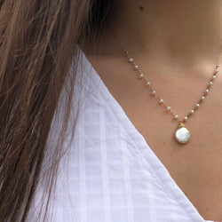 14k Gold Filled Pearl Coin Necklace - Quick Ship
