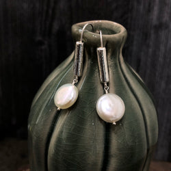 Pearl Coin & Sterling Stick Earrings