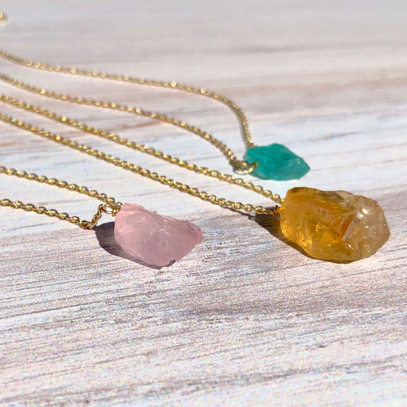 14k Gold Filled Rough Uncut Gemstone Necklace