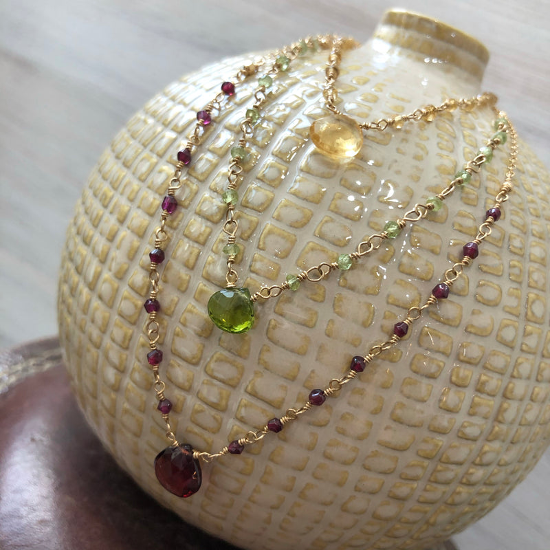 Peridot, Citrine or Garnet Gold Filled Necklace