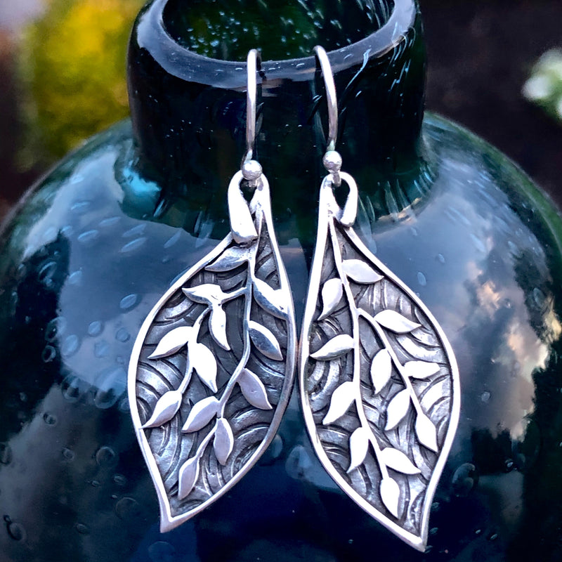 Sterling Silver Patterned Leaf Earrings