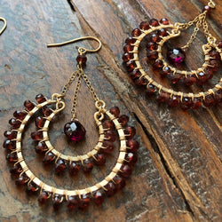 Shoka 14K Gold Filled Garnet Earrings