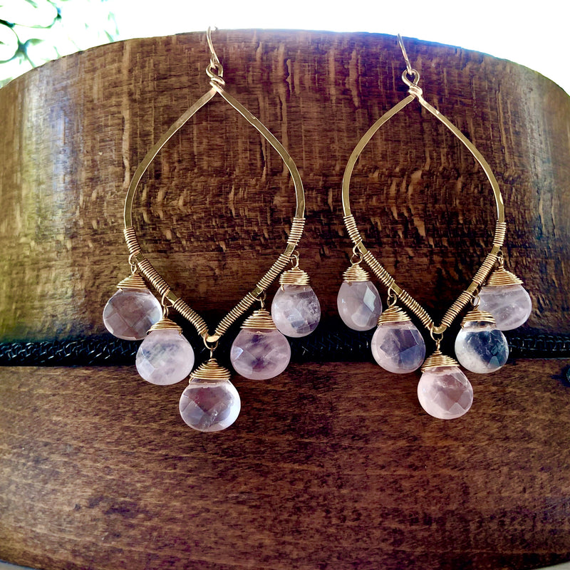 14k Gold Filled Chandelier Earrings - Lapis, Rose Quartz, Prehnite & Black Onyx options available