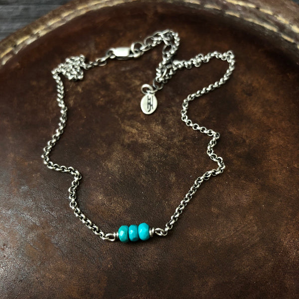 Oxidized Turquoise Necklace - Sterling silver