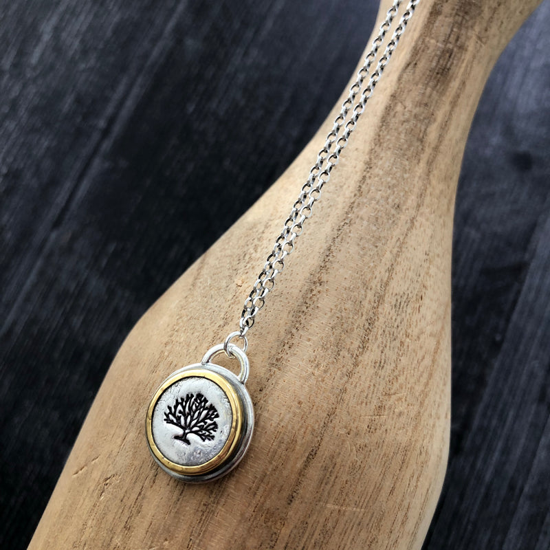Silver and Gold Tree of Hope Necklace