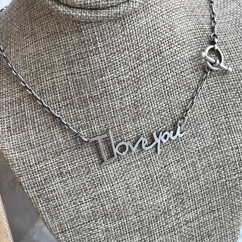 The Silhouette Series - Oxidized Sterling Silver Handwritten Necklace