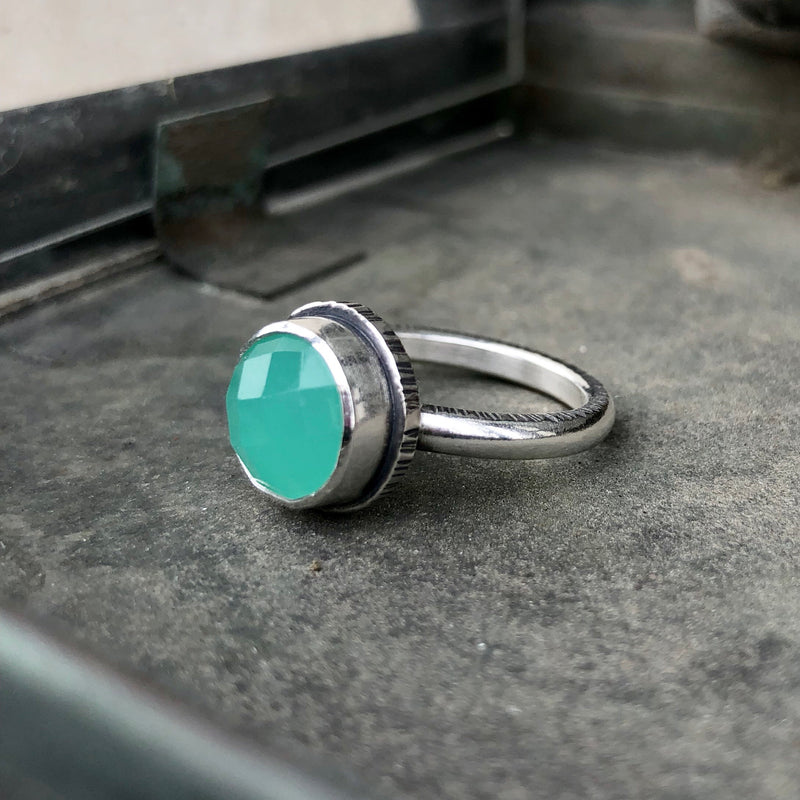 Faceted Chalcedony Sterling Silver Ring
