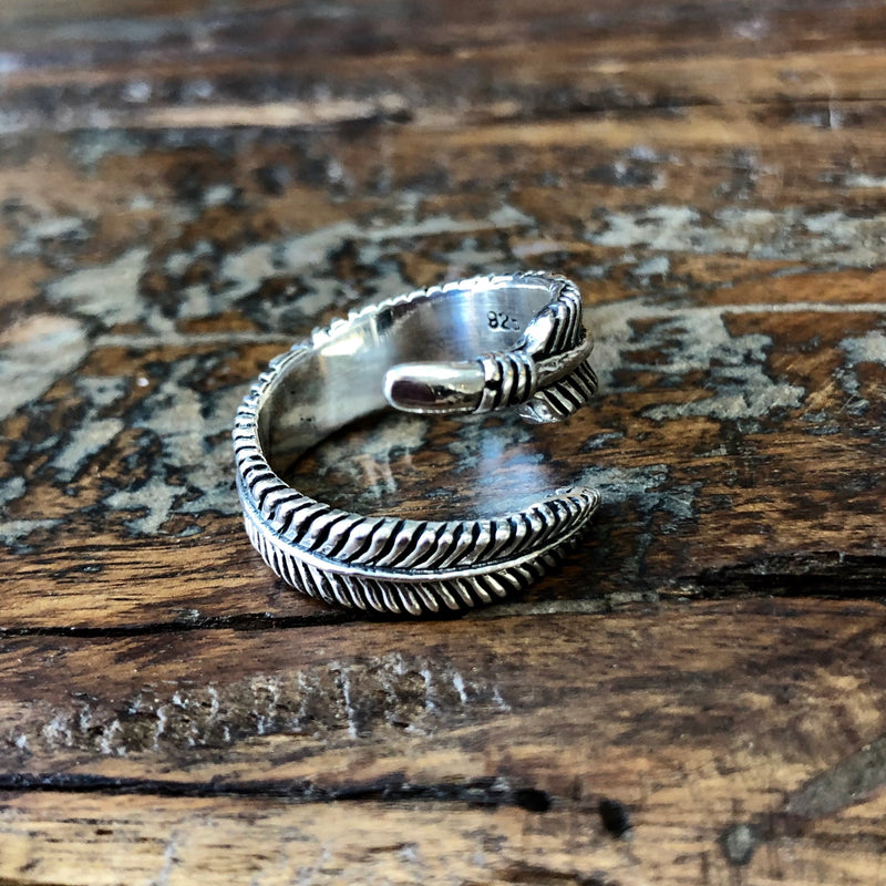 Sterling Silver Feather Ring - Adjustable