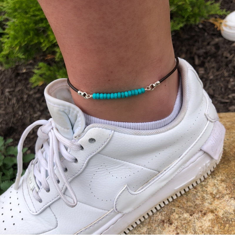 Blue Turquoise Anklet - Sterling Silver & Greek Leather