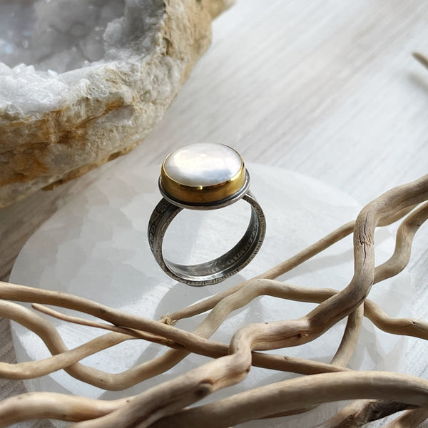 22k Gold Pearl Coin Ring