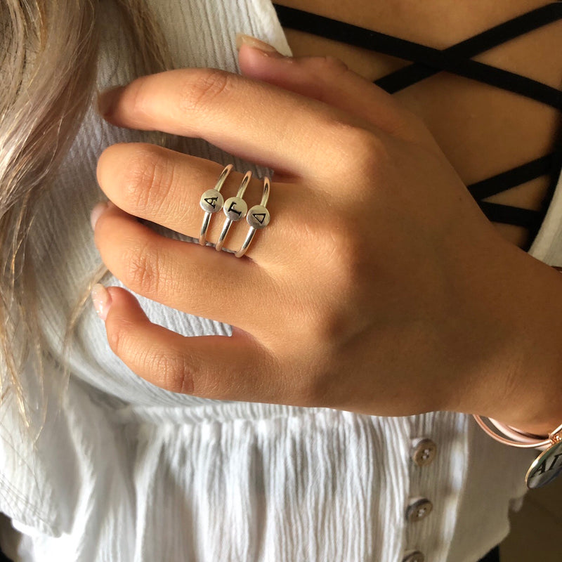 Greek Letter Sorority Stackable Ring - Sterling Silver