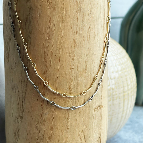 Sterling Silver or 14k Gold Filled Curved Link Chain